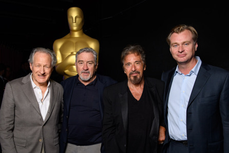 "The Academy presented a screening of ""Heat"" on Wednesday, September 7, 2016. Pictured (left to right): Director/Producer/Writer Michael Mann, Actor Robert De Niro, Actor Al Pacino and Moderator Christopher Nolan."